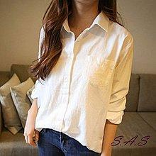 【現貨】 女基本款襯衫 韓純白襯衫 簡約百搭女襯衫 休閒襯衫寬鬆襯衫 女襯衫 女長袖襯衫 修身襯衫 S.A.S 135