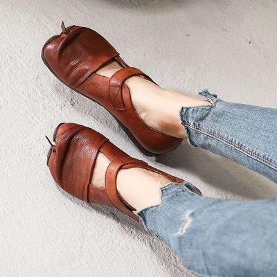 柒柒KR 正韓原創手工真皮女鞋復古文藝休閒單鞋個性分趾鞋低跟軟底搭扣平跟鞋