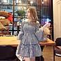 (現貨)潘朵拉衣閣時當肩綁帶彈力一字領收腰中長喇叭袖格子裙蓬蓬裙洋裝連身身裙小禮服