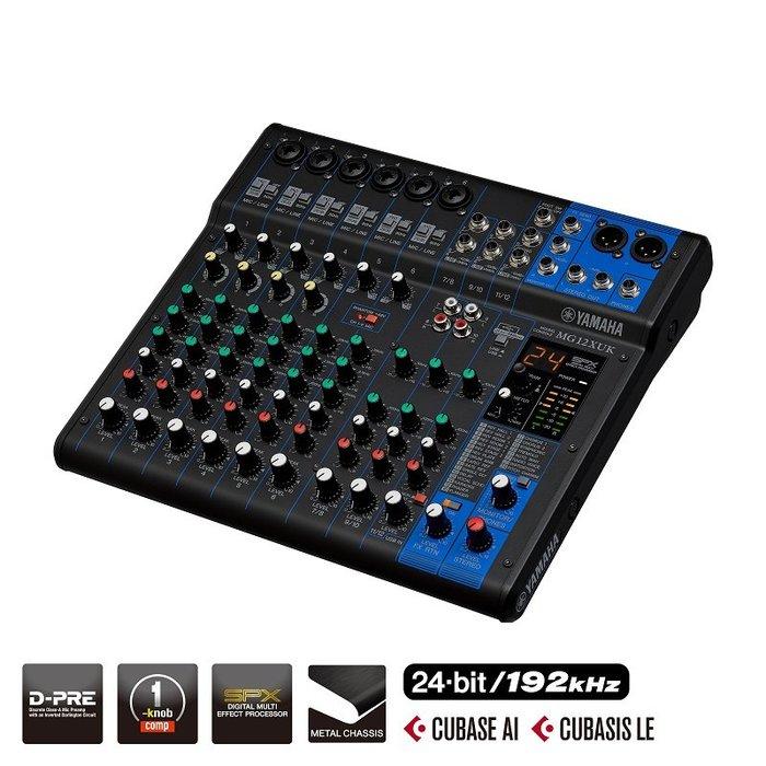 造韻樂器音響- JU-MUSIC - 全新 YAMAHA MG12XUK 12軌 混音器 旋鈕版本