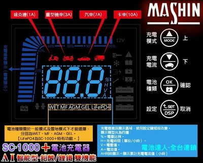 【電池達人】麻新電子 豪華版 SC-1000+ 電池 充電機 電瓶 充電器 鋰鐵 EFB AGM 電源供應 附 雪茄頭線