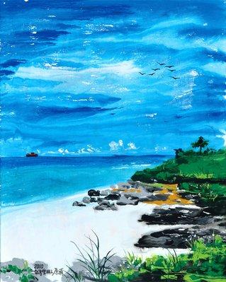 原甫 海岸邊 2010 30F (鄉土、本土、台灣、油畫、流彩畫、美展、當代、藝術、裝飾、非複製畫、真跡)