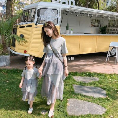 JMW集美屋韓國專櫃團購2019夏季網紅親子裝一件代發 不規則紗裙母女裝 親子裝 T恤拼