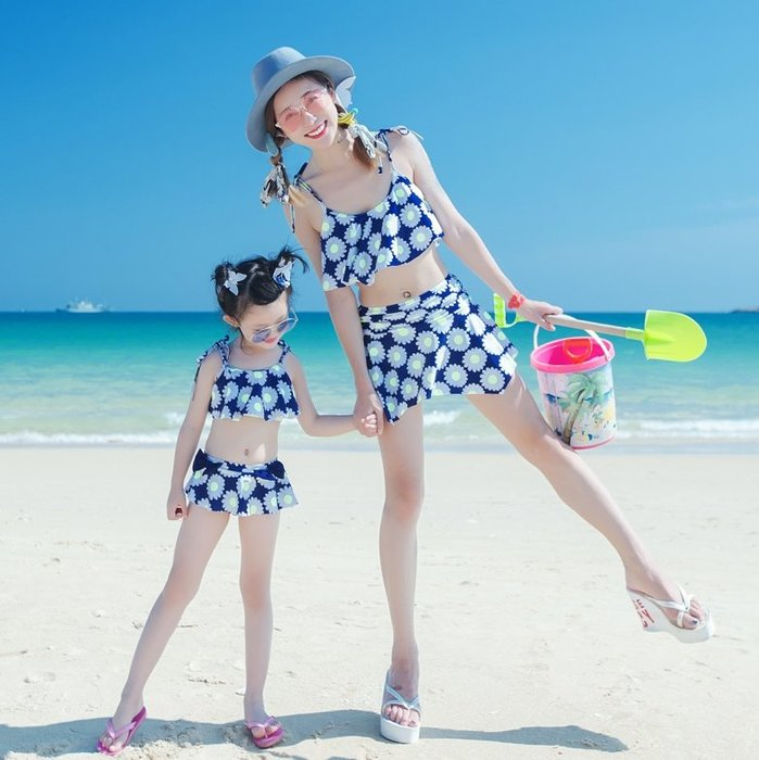 【小阿霏】成人媽咪款 家庭親子泳衣 連身裙式流蘇彩色滿版溫泉泳裝 兩用保守顯瘦連身泳衣 母女姐妹泳裝SW155