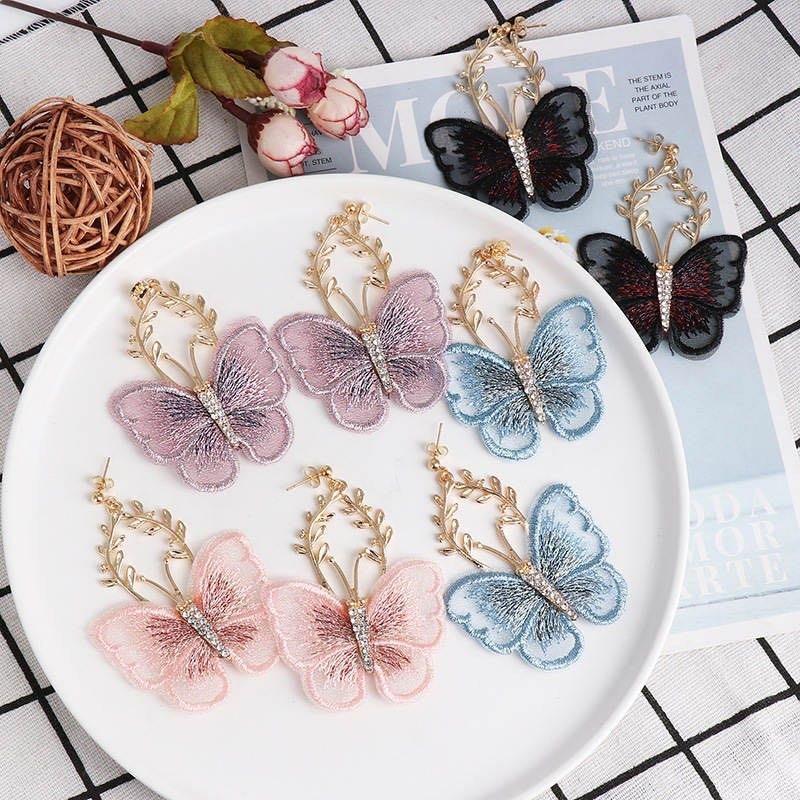 歐美時尚設計蕾絲蝴蝶花浪漫耳環(蔡裴琳三立八點檔劇中穿搭耳環)