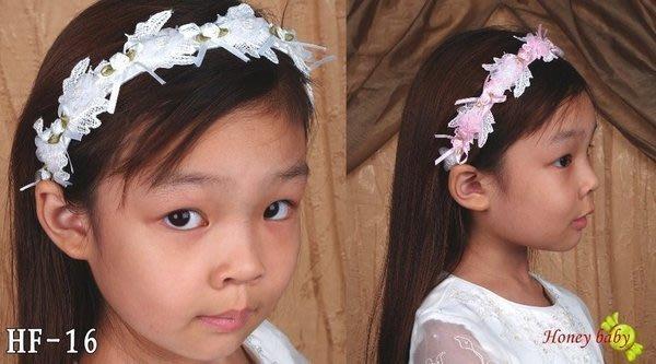 Honey Baby~~HF~16,花童.髮飾.頭花.花環.髮圈/髮箍 搭配任何色係禮服&~頭飾粉紅色