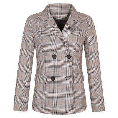 毛呢 外套 短版大衣-格子復古雙排扣秋冬女外套73ui4[獨家進口][米蘭精品]