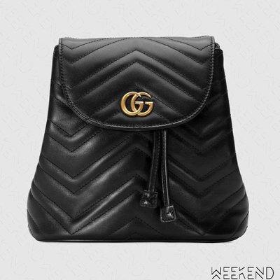 【WEEKEND】 GUCCI GG Marmont matelassé 皮革 後背包 黑色 528129