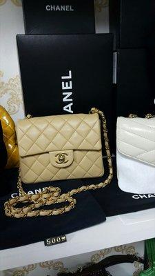 Chanel mini coco 米色金鍊18cm羊皮
