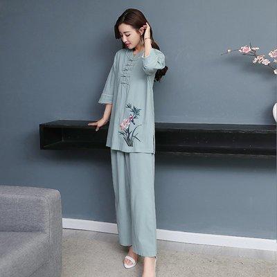 新款女裝棉麻復古刺繡盤扣立領休閑套裝初秋新品中袖上衣+闊腿褲
