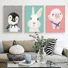 ins北歐風格兔子小豬小熊小羊動物裝飾畫畫芯高清微噴