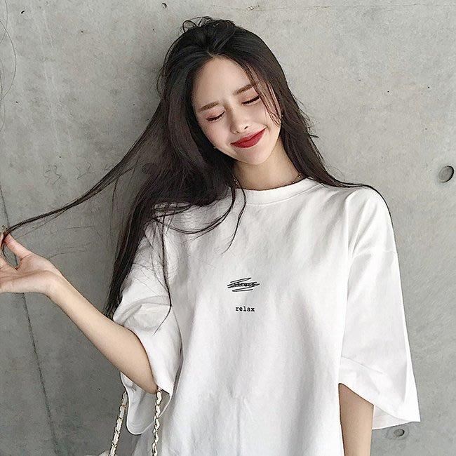FINDSENSE G6 正韓女裝上衣 簡約前短後長t大開叉長T素T棉T圓領寬鬆T短袖女T恤網紅商品女t-shirt