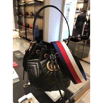 法國全新正品 GUCCI GG Marmont quilted leather 水桶包 476674 黑色  現貨
