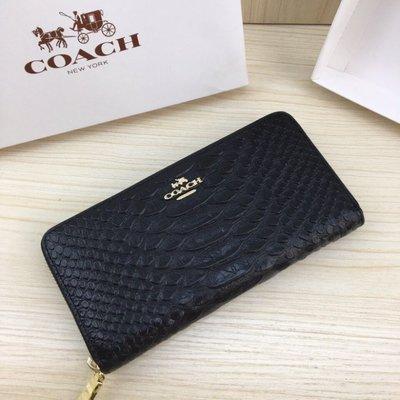 (Outlet特惠)COACH 53659 新款女士鱷魚紋素色長款錢夾 手拿包 內置拉鏈隔層 附購買證明