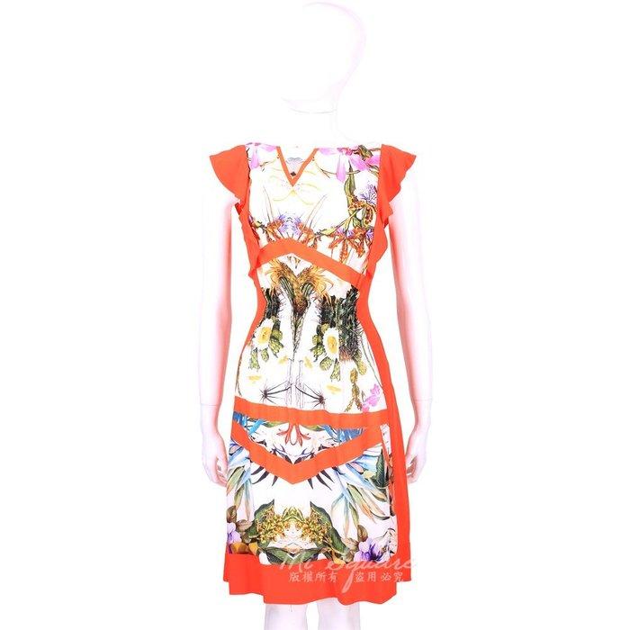米蘭廣場 CLASS roberto cavalli 橘色印花設計荷葉袖洋裝 1520544-20