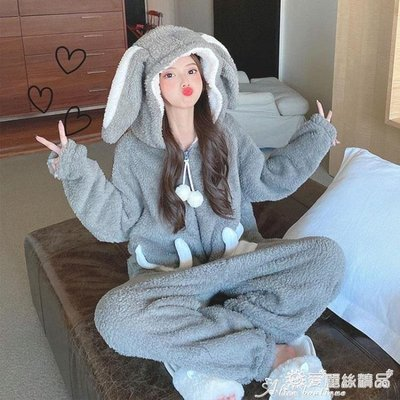 連體睡衣 可愛卡通加絨加厚兔耳朵連體睡衣女學生秋冬季新款長袖保暖家居服 愛麗絲