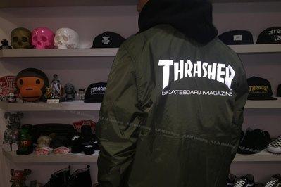 【 K.F.M 】THRASHER SKATE MAG COACH JACKET 日本支線 教練外套 3M反光 防風 綠