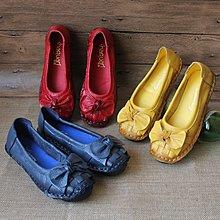 新款復古手工女鞋平跟牛皮花朵女單鞋民族風真皮舒適軟底媽媽豆鞋