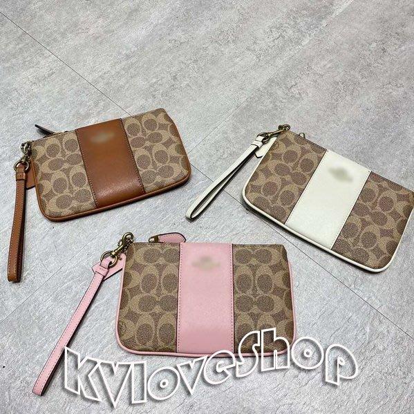 KVLOVE SHOP-Y〥外貿出口單 時尚印花粉/白/棕色拼接手拿包包 3色〥特價