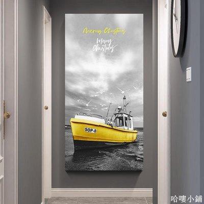 免運 黑白工業風裝飾畫創意復古大海風景帆船玄關客廳酒吧咖啡墻壁掛畫