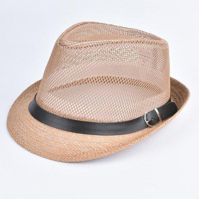 男帽子 紳士帽 時尚復古鏤空卷邊紳士草帽 時尚紡織帽 夏季街頭防曬帽禮帽yx433