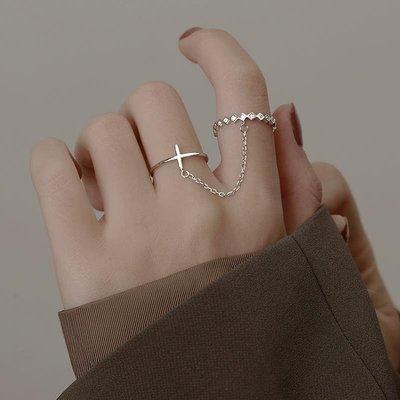 十字架鏈條組合戒指女純銀時尚個性小眾輕奢ins開口設計指環精致