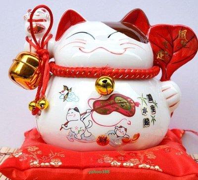 美學95日本正版招財貓中號大號陶瓷擺件風聲水起招福祝願招財貓7寸轉運擋災❖6730