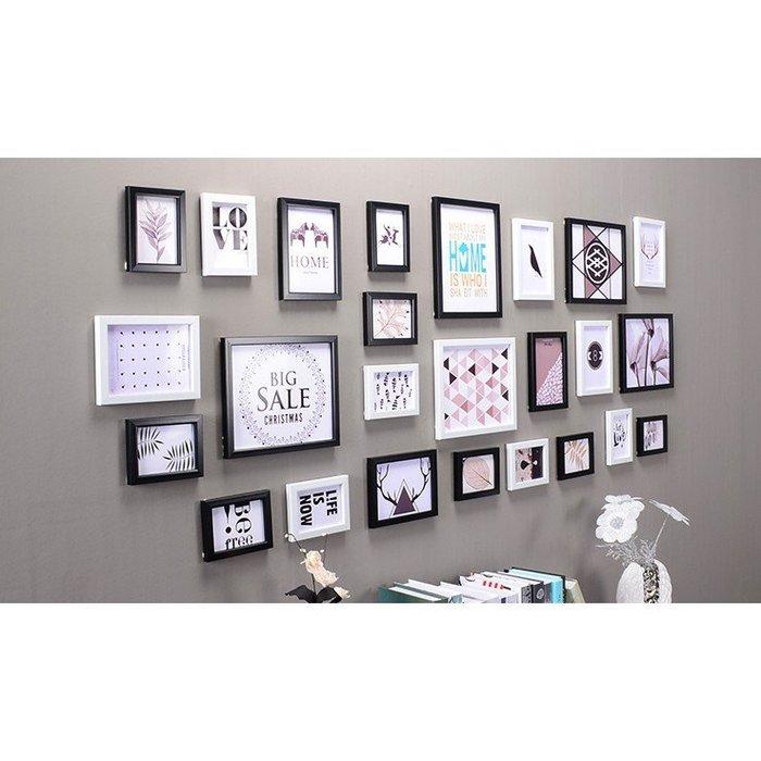 25框地中海客廳照片牆相框牆創意組合心形相片牆歐式