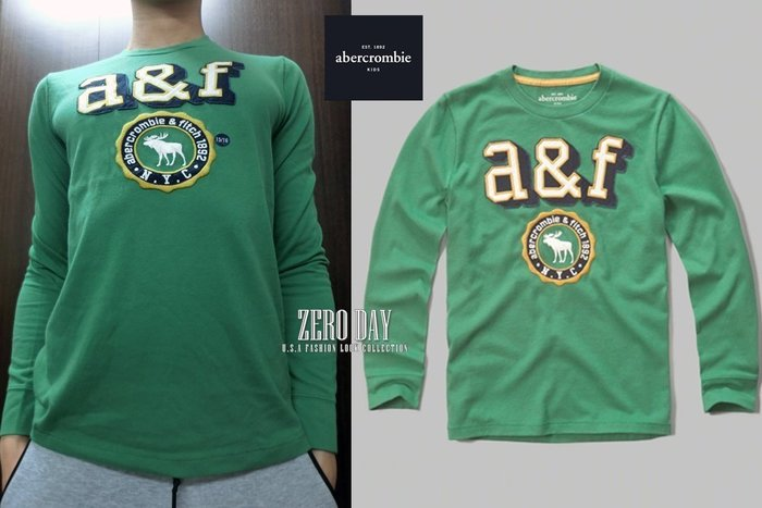 a&f abercrombie&fitch kids guys boy logo graphic tee麋鹿長袖T-綠