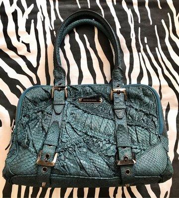 Burberry Medium ruched python bowling bag tealing blue 藏籃色真蟒蛇皮保齡袋 手挽袋 也可上膊側背