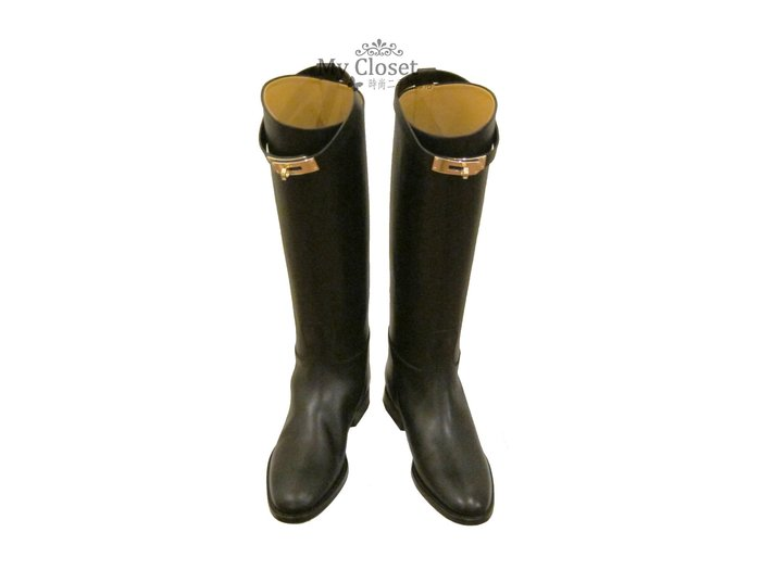 My Closet 二手名牌 全新黑色 Hermes Kelly Jumping Boots 長筒靴