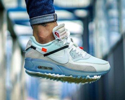 定金賣場OFF-WHITE Nike Air Max 90 ICE AA7293-100藍水晶底麂皮THE-TEN 10