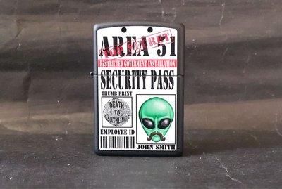 ONE*$1~美系*ZIPPO*AREA-51『51區-外星人指紋通行證 』黑磨砂/烤漆*編號:28437