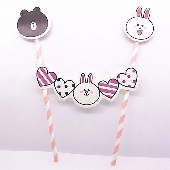 熊熊兔兔愛心生日蛋糕插牌 happy birthday 插旗 插卡 party 派對 candy bar 彌月 熊大