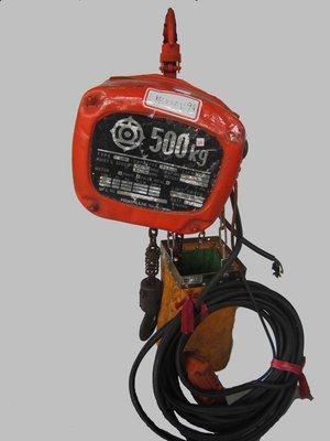 中古/二手 電動吊車/鍊條式吊車/吊車- 500KG*9M -三相220V-日立-日本外匯機(J#181)