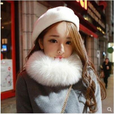 毛毛絨狐狸毛圍巾女士秋冬季韓版學生加厚保暖假領子皮草圍脖套頭MGXW2323