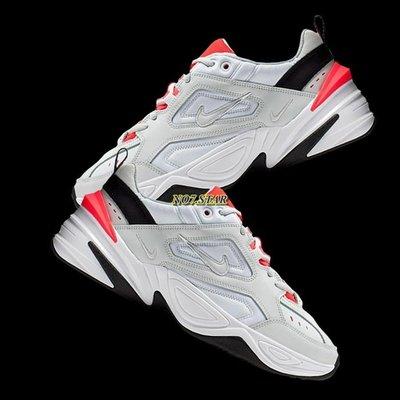 Nike Monarch M2K Tekno 復古 老爹鞋 皮革 灰白 橙色 橘 厚底 增高 女鞋 AO3108-401