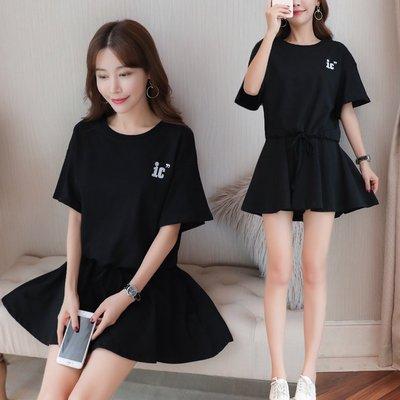 GOGO SHOP☆╭ 大碼水水韓版新款 時尚圓領短袖寬鬆上衣+短裙套裝【Y2177】M-5XL時尚兩件式大尺碼套裝