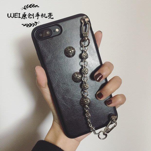 6s皮套7-11全家正韓國版蘋果iphone8/7plus/6s/6plus克羅心鏈條掛繩全包邊軟皮手鏈手機殼19318
