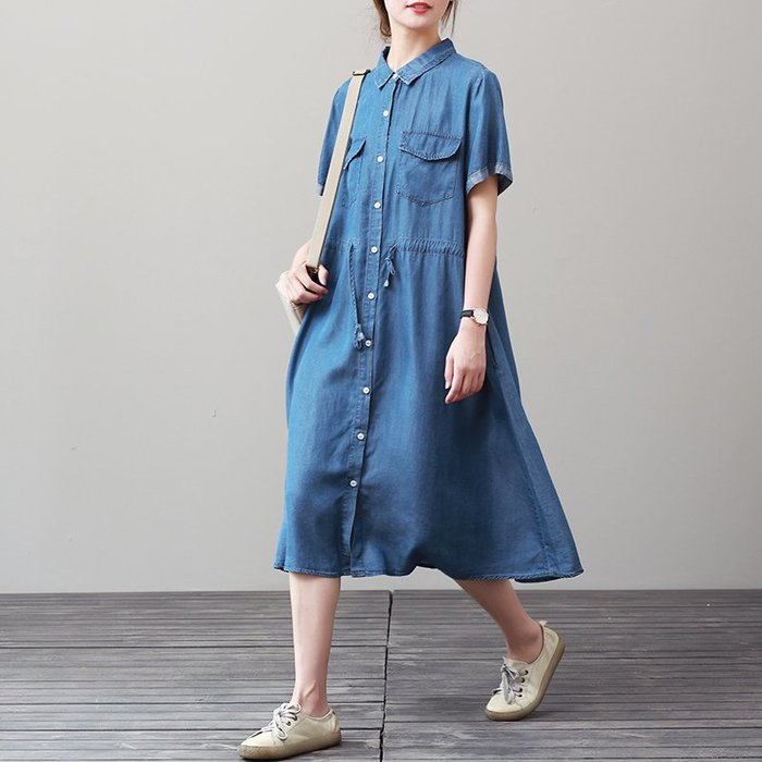 牛仔洋裝 半身裙 A字裙 連衣裙女夏寬松大碼中長款襯衫裙休閑文藝牛仔裙