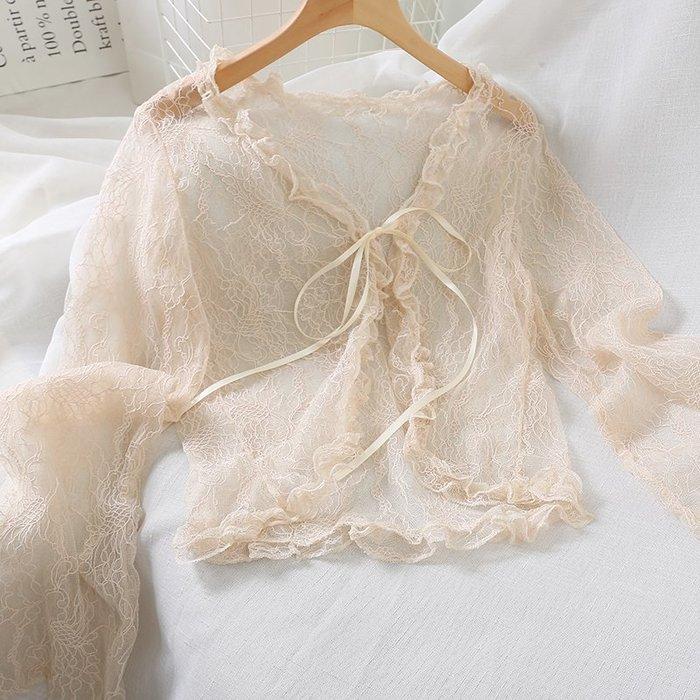 創意夏季服飾 蕾絲衫  T恤4400防曬衣女夏新款海邊度假寬松長袖蕾絲開衫薄披肩外搭上衣罩衫