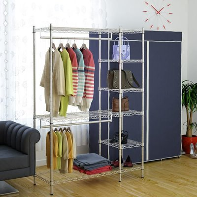 [客尊屋]粗管鍍鉻 46X123X180H(接)六層雙衣桿衣櫥(含手工布套)/衣櫃/衣架/上下可調/布衣櫥/