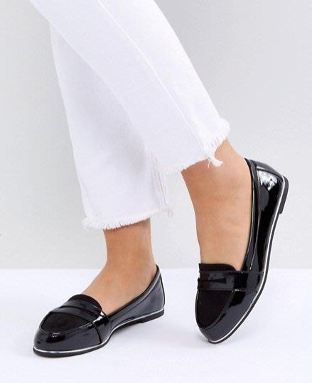 ◎美國代買◎ASOS代買漆皮鞋身搭配麂皮尖圓楦英倫學院風雙材質漆皮平底鞋~歐美街風~大尺碼
