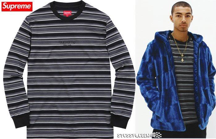 【超搶手】全新正品2015 秋冬最新Supreme Multi Stripe L/S Top 橫條長袖T 黑 S L