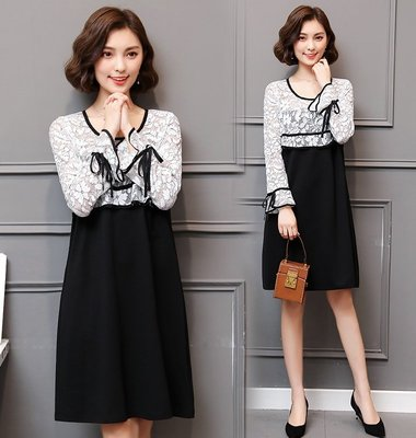 GOGO SHOP☆╭ 韓版新款 時尚氣質顯瘦修身洋裝 蕾絲袖拼接連身裙【Y1600】XL~5XL大尺碼洋裝 裙子