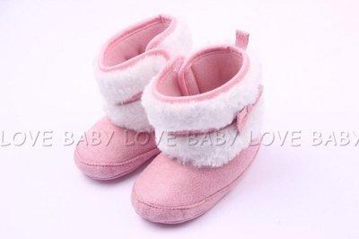 ~Lady miu~ TOTAL粉紅色蝴蝶結絨毛防滑短靴 學步鞋 雪靴~13cm