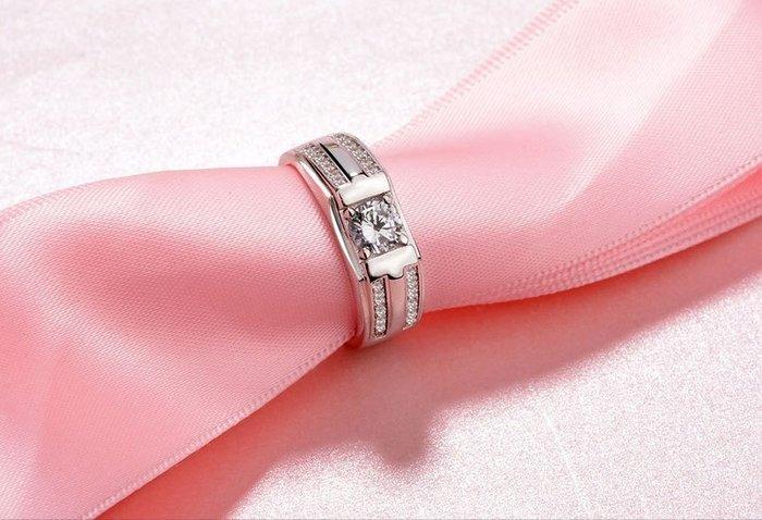 日韓時尚白金雙排鑽男戒鋯石水鑽可調式開口戒指情人節禮物生日禮物買一送二