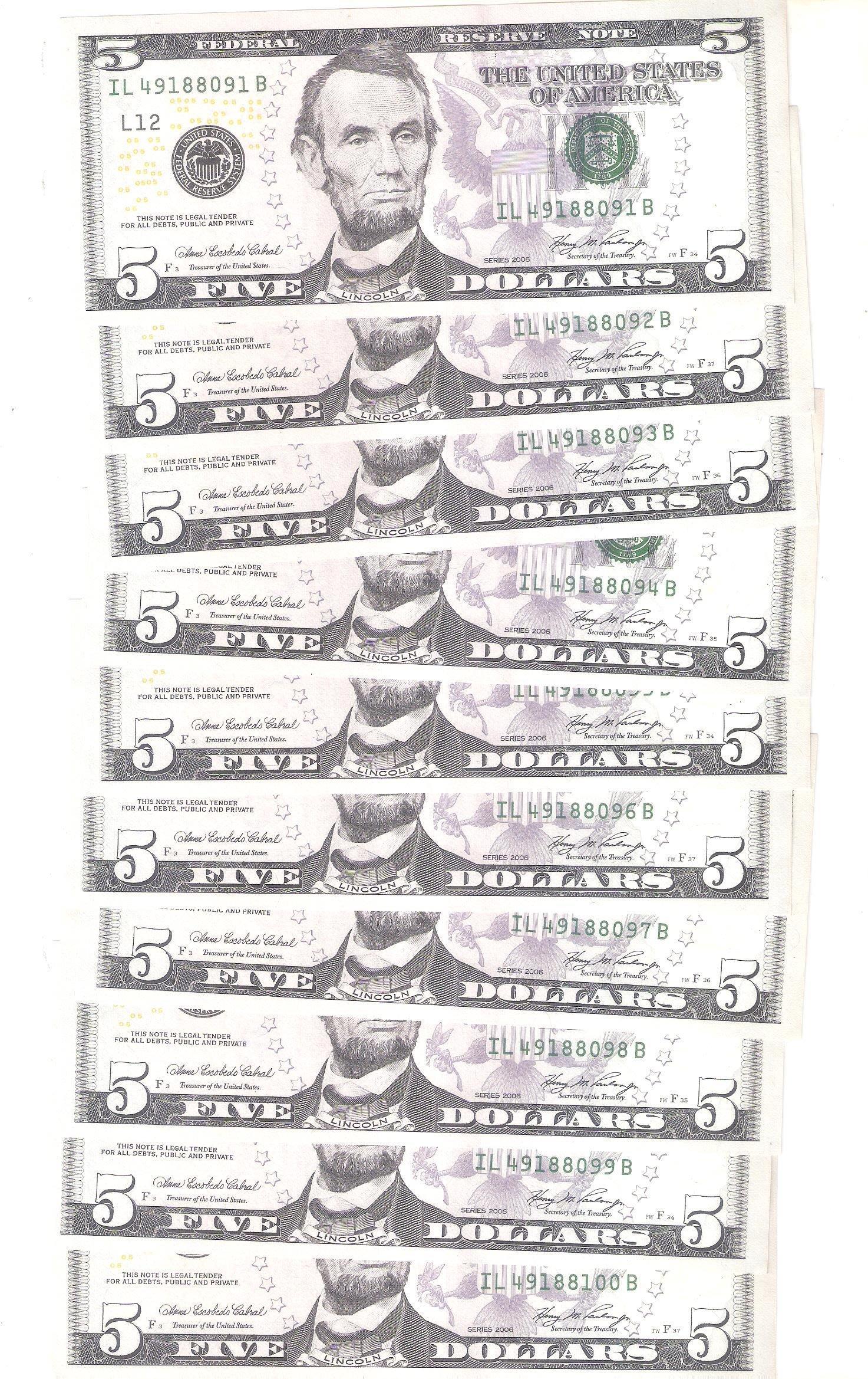 美金2006年發行5元面額紙鈔 共10枚壹標連號95新