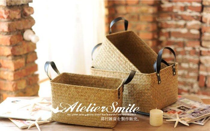 [ Atelier Smile ] 鄉村雜貨 北歐風  手工海草編織籃 收納籃 手提籃 # 長方高款 # 黃色 三件套