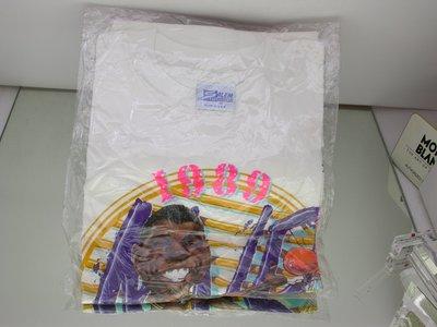一元起標MADE IN USA1989美國NBA職籃LA洛杉磯湖人隊紀念T恤M.